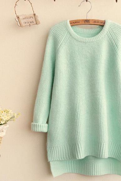 FREE SHIPPING Vintage Mint Round Neck Long Sleeve Sweater