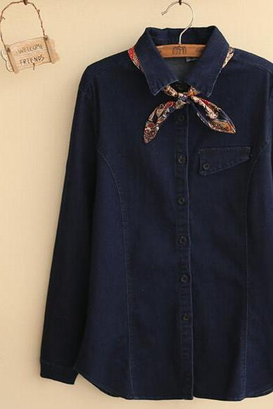 FREE SHIPPING Vintage Denim Lace Bow Long Sleeve Blouse