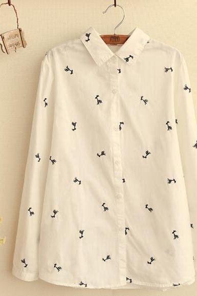FREE SHIPPING 2016 New Deer Embroidered Long Sleeve Blouse