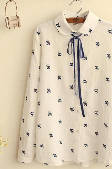 FREE SHIPPING 2016 New Retro Cat Print Long Sleeve Blouse