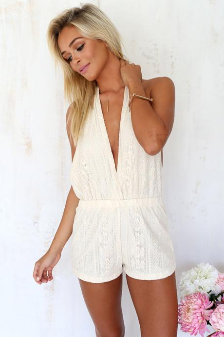 FAST SHIPPING 2016 New Fashion Women's White Lace Crochet Backless Romper