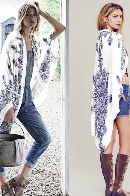 FAST SHIPPING 2016 New Fashion Women Blue And White Porcelain Print Kimono