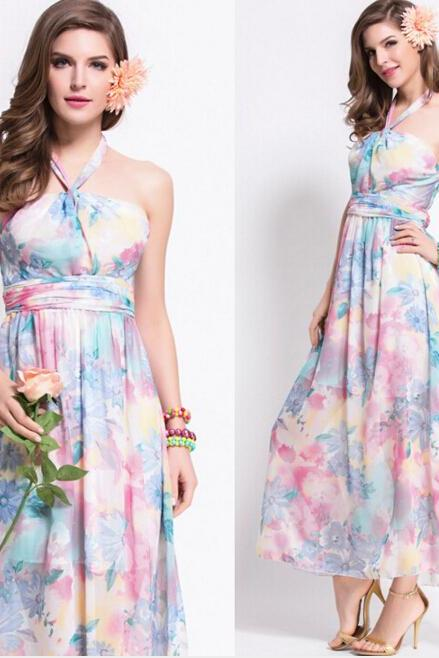 FAST SHIPPING 2016 New Bohemia Pastel Floral Prints Maxi Halter Dress, Beach Dress