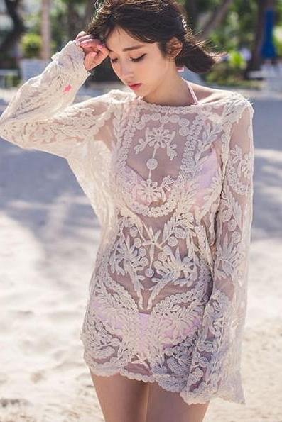 FAST SHIPPING New Sexy Round Neck Long Sleeve Hollow Out Crochet White Cover-Up For Women