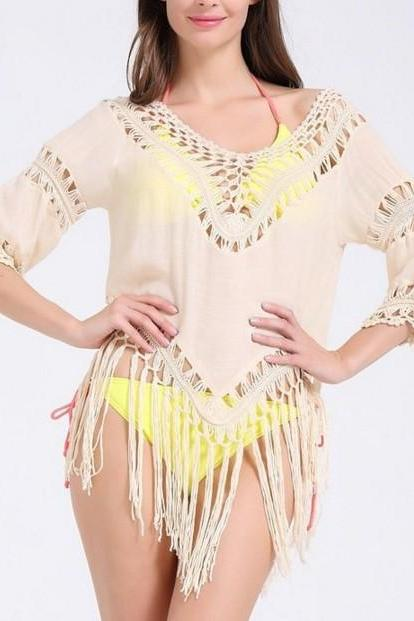 FAST SHIPPING New Sexy Plunging Neck 3/4 Sleeve Hollow Out Tassels Embellished Cover-Up For Women