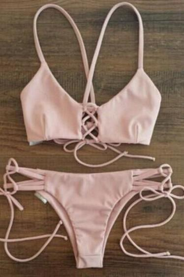 FAST SHIPPING New Women Pastel Pink Halter Swimsuit Two Pieces Bikini