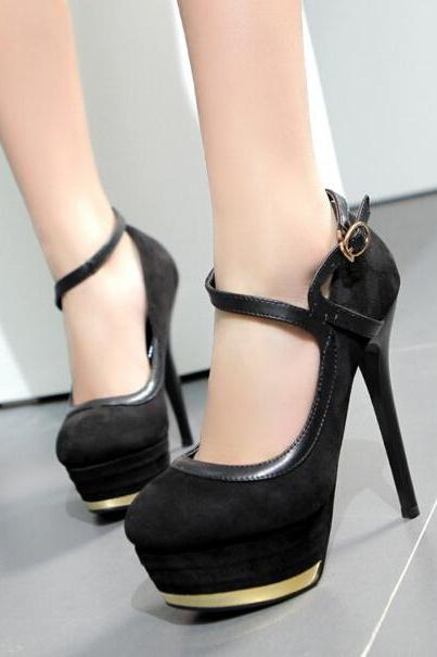 New Sexy Black Women's Fashion Suede Platform Pump Night Club High Heel