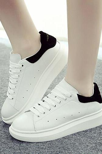 White Faux Leather Lace-Up Sneakers