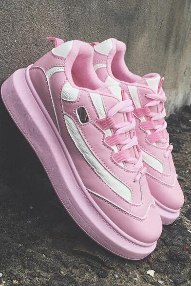 New Street Fashion Pastel Pink Sneakers Running Shoes