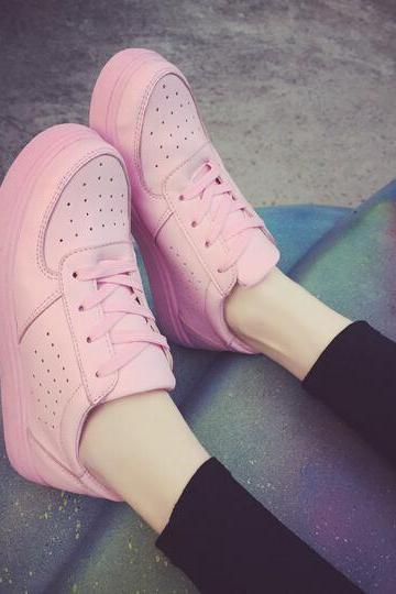 New Street Fashion Pastel Pink Lace Up Sneakers Running Shoes