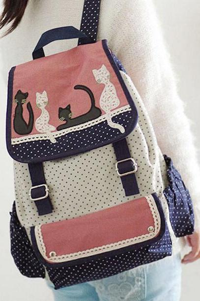 Retro Dot and Cat Lace Canvas Backpack School Bag