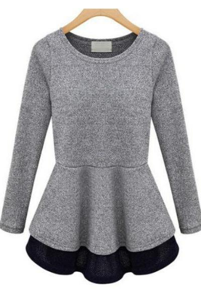 FAST SHIPPING New Fashion Women's Grey Melange Long-Sleeve Peplum Top