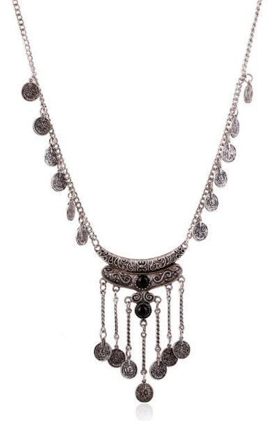 FAST SHIPPING New Ethnic Style Coin Tassel Chunky Necklace
