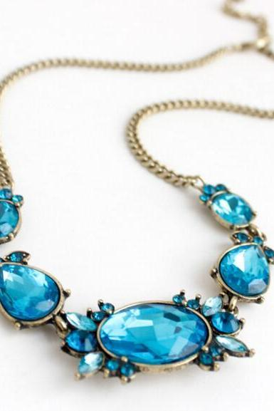 FAST SHIPPING New Fashion Charm Chunky Crystal Statement Bib Chain Choker Pendant Necklace
