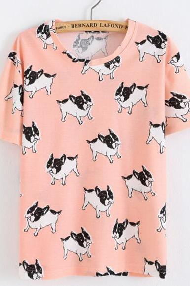 FAST SHIPPING New Harajuku Pink Dogs Printed Summer T-shirt