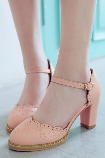 New Retro Pink D'Orsay Heeled Shoes College Style Princess Shoes