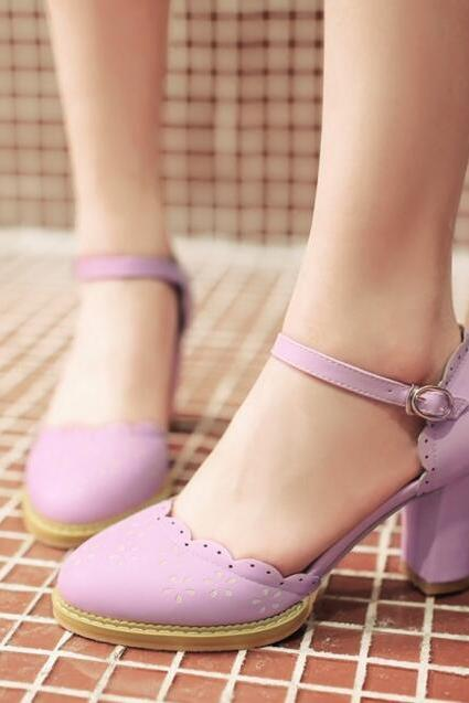 New Retro Purple D'Orsay Heeled Shoes College Style Princess Shoes