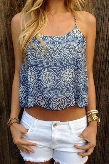 New Women's Fashion Boho Blue Ethnic Pattern Tank Top
