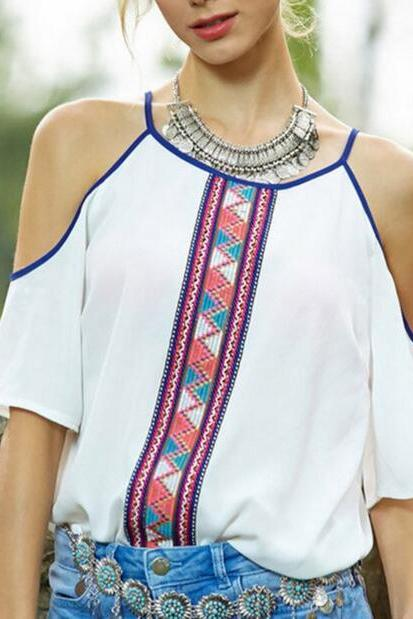 White Boho Ethnic Pattern Cold-shoulder Top