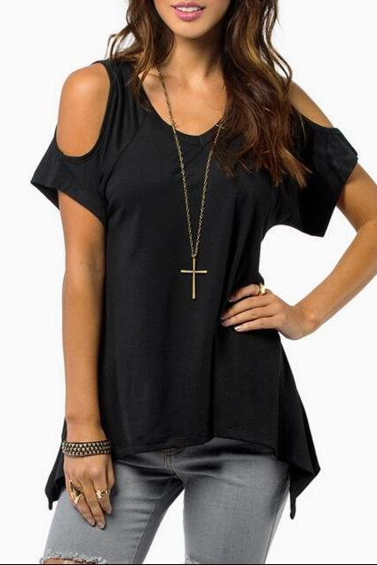 New Women's Fashion Casual Black V-Neck Cold-shoulder T-Shirt Top