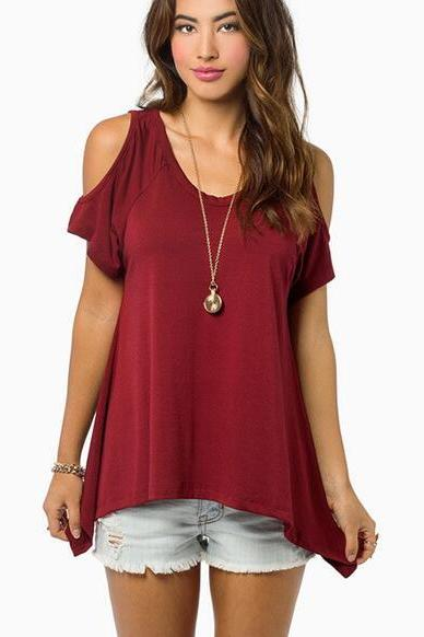 New Women's Fashion Casual Burgundy V-Neck Cold-shoulder T-Shirt Top