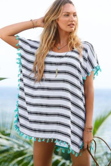 New Women's Fashion Stripe Tassel Loose Cover-up Chiffon T-Shirt Dress