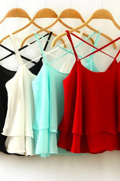 New Women's Fashion Sexy Red White Black Blue Criss-cross Strapped Chiffon Tank Top