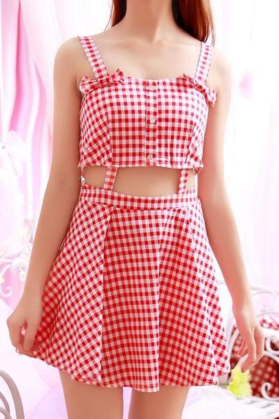 Sleeveless Plaid Short Skater Dress Featuring Cutouts and Bow Accent