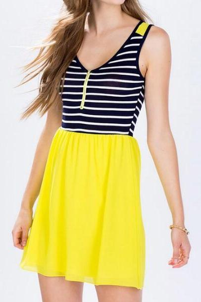 Free Shipping Color Block Striped Sleeveless Summer Dress