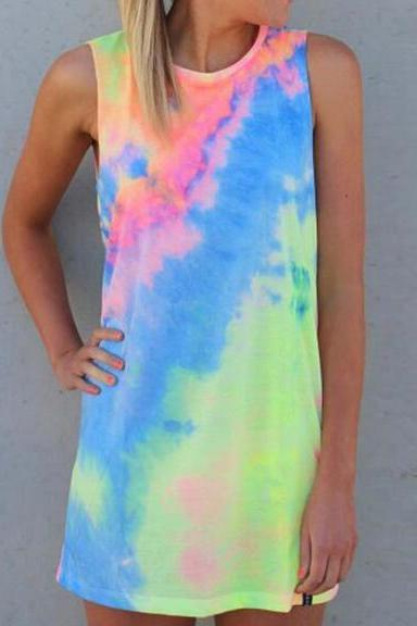 Free Shipping Multicolor Tie-dye Round Neck Sleeveless Knotted Shift Dress