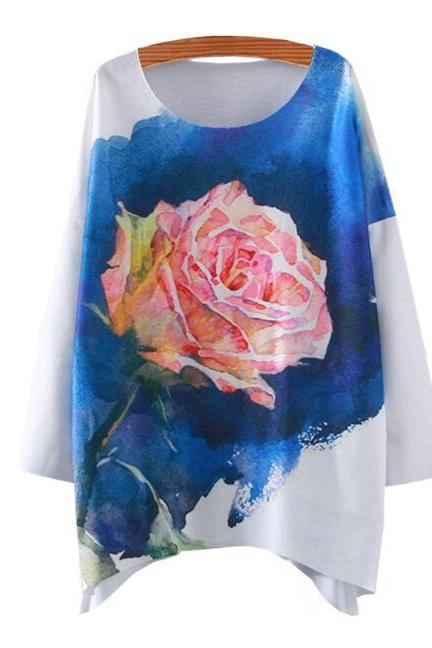 FREE SHIPPING New Harajuku Fashion Women White Blue Rose Flower Printed Long Sleeve T-shirt Sweatshirt