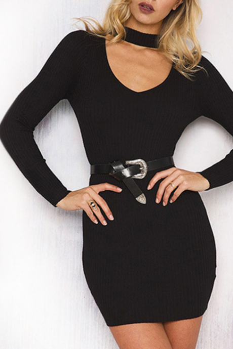 Free Shipping New Fall Winter Fashion Women Black Grey V-neck Long Sleeve Bodycon Dress