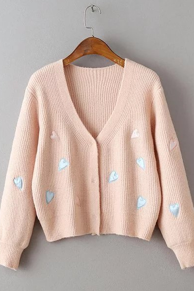 Long Sleeve Pink Heart Embroidery Knitted Cardigan