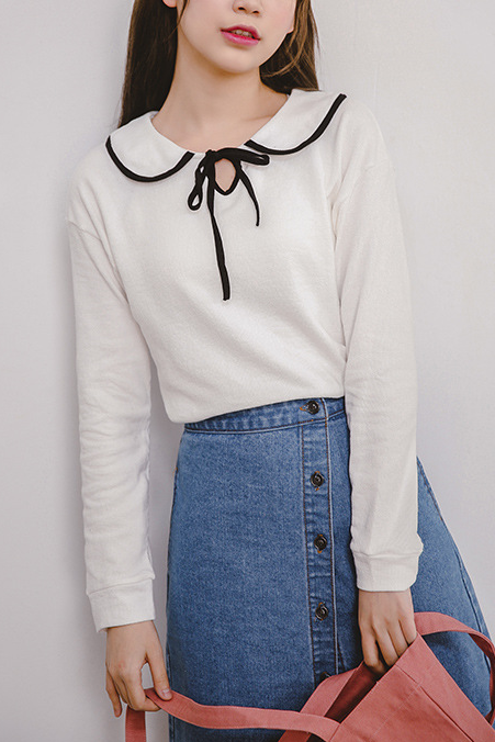Long-sleeved Peter Pan Collared Blouse with Ribbon Detail