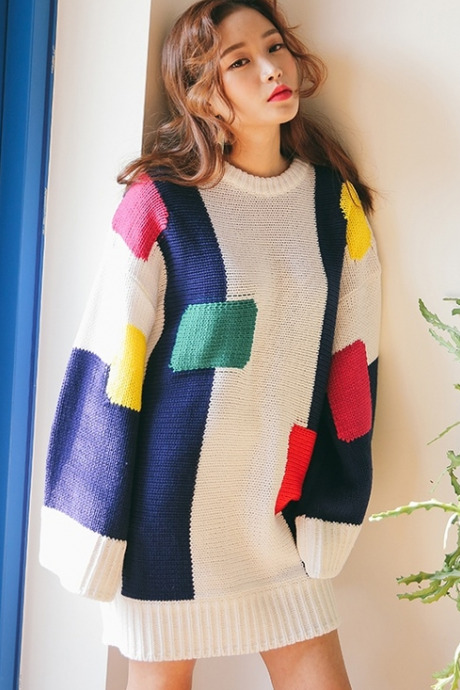 FREE SHIPPING 2016 Fall Winter Fashion Women Color Block Oversize Jumper Long Sleeve Knitted Sweater