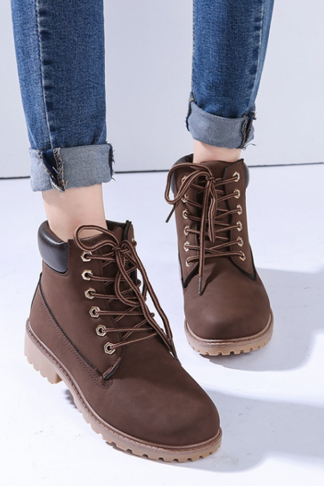FAST SHIPPING Fall/ Winter 2016 Fashion Women Brown Lace Up Martin Boots Ankle Booties