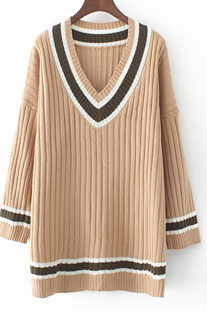 Fashion Women V-neck Long Knitted Jumper Sweater - Fall Winter Fashion