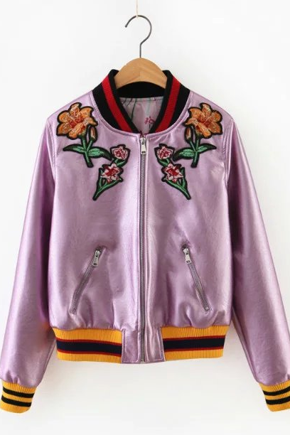 New Fall/Winter Women Gold/Silver/Purple Zipper Up Floral Embroidery Bomber Jacket Casual PU Leather Baseball Jacket Coat