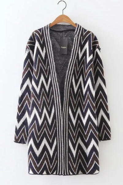 Long Sleeve Chevron Print Cardigan - Beige / Navy