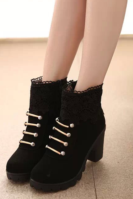 FAST SHIPPING Fall/ Winter 2016 Fashion Women Black Lace Splicing High Heel Martin Boots Ankle Booties