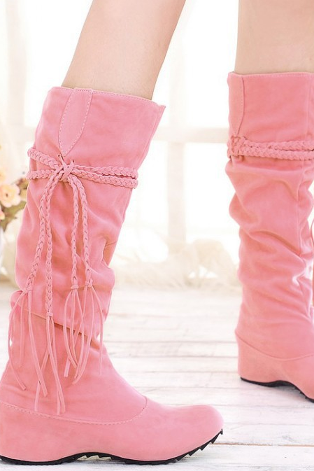 FAST SHIPPING Fall/ Winter 2016 Fashion Women Pink Suede leather High Boots Wedge Heeled Boots
