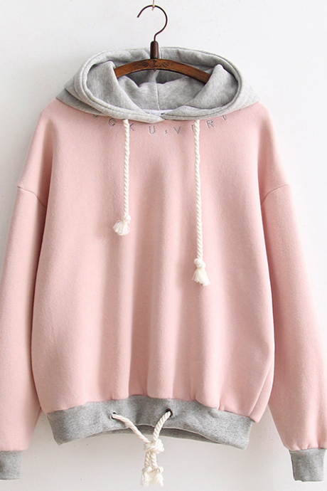 Fall Winter Harajuku Fashion Pink/Blue/White Letters Embroidered Hem Drawstring Turtleneck Hoodie