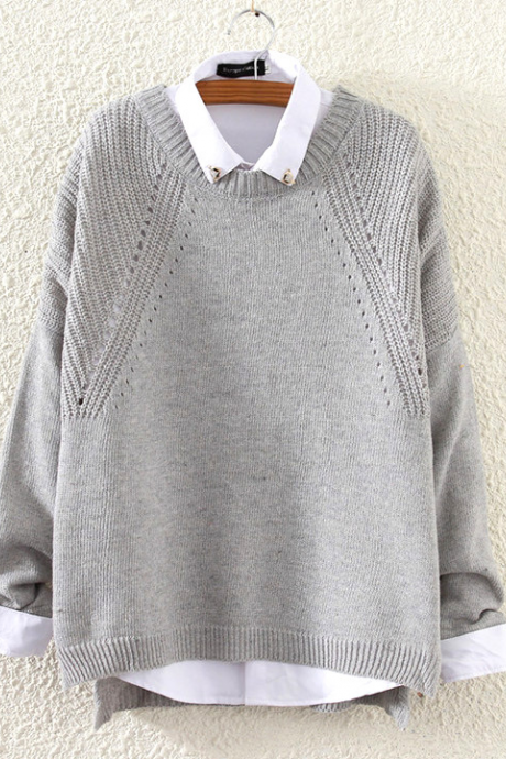 Fall Winter Women Fashion Grey Loose Hem Split Hollow Knit Sweater