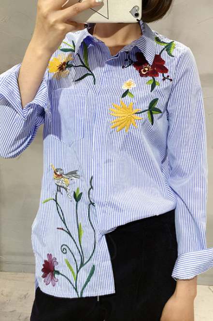 Vintage Blue Floral Embroidered Striped Shirt