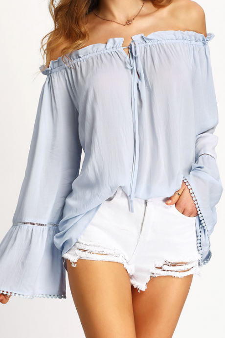 Light Blue Off-The-Shoulder Flared Sleeves Blouse Featuring Ruffle Detailing