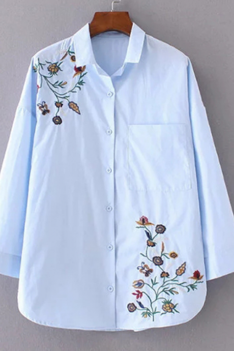 Blue Button Down Shirt Featuring Floral Embroidery