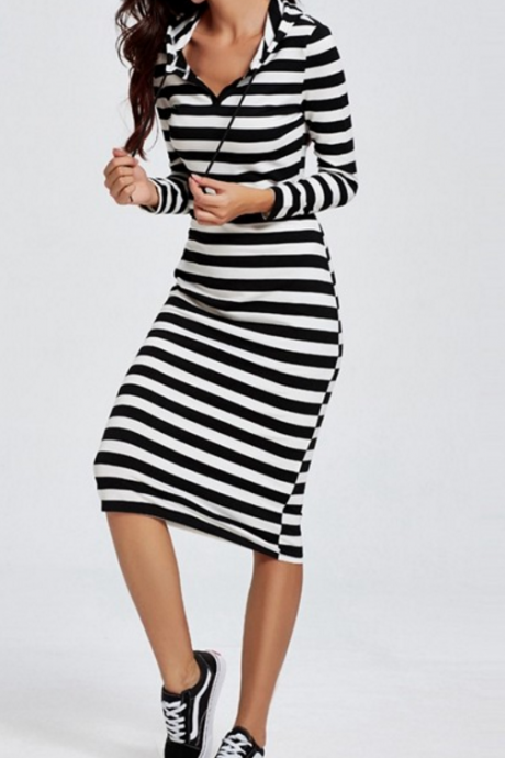 New Fashion Black White Striped Hoodie Dress Casual Women Long Sleeve Dress