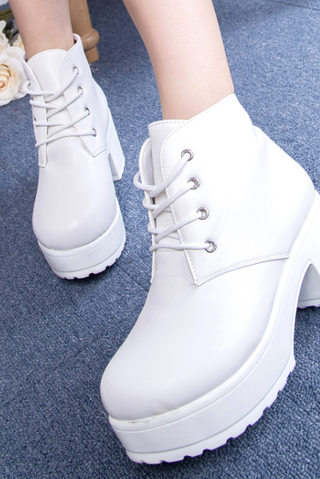 New Fashion Women PU Leather Plantform Boots Lace Up Ankle Boots Black White