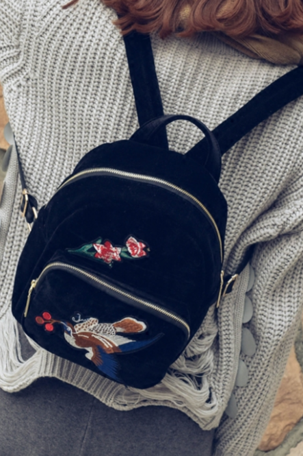Velvet Backpack Featuring Embroidery Detailing