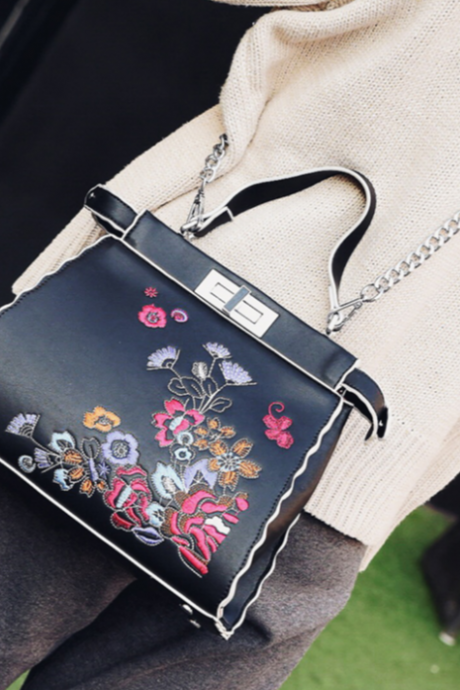 Floral Embroidered Chained Crossbody Bag